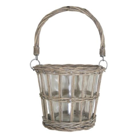 Wicker & Glass Hanging Candle Holder